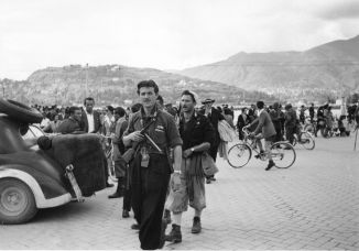 Partisans gather in Piazza Cavour on 28th April 1945