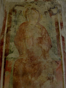 Basilica Crypt - 14th century fresco depicting The Madonna della Latte, p