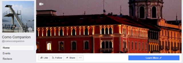 Facebook banner for Como Companion page - Hotel Vista Lago Como