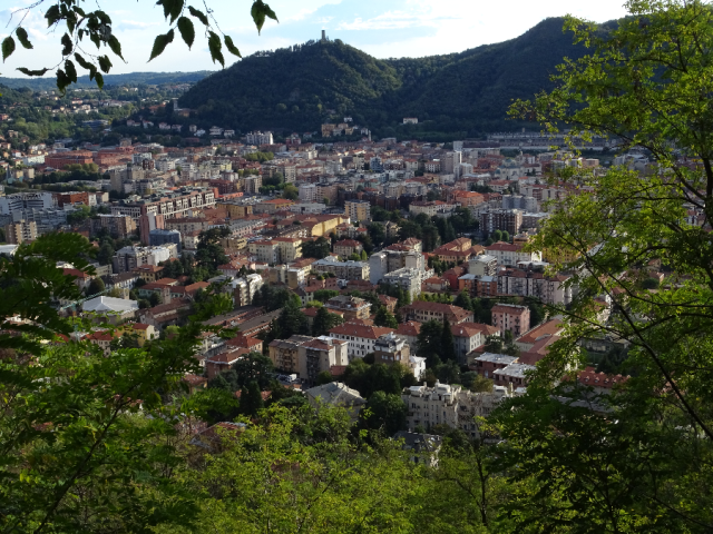 Looking down on Como city south to the Baradello Tower and the Pianura Padana
