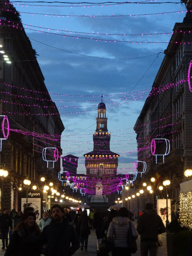 Via Dante Christmas lights Milan Castello Sforzesco