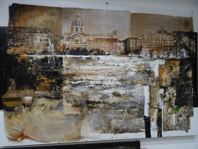 Como painting mixed media ester negretti