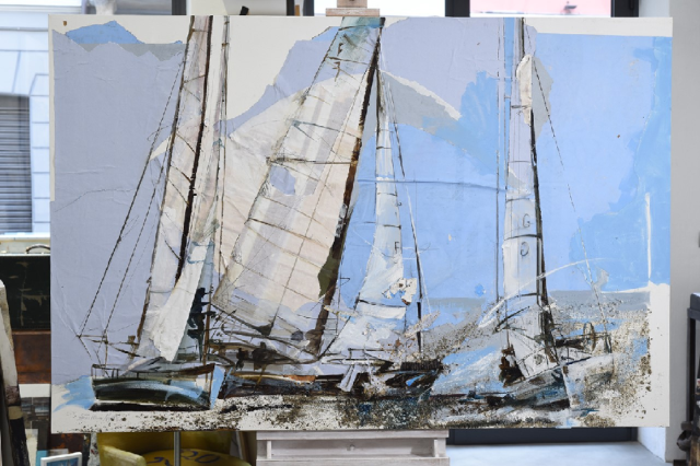 Painting mixed media sail boats ester negretti
