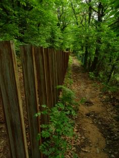 Steel girders mark the border