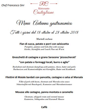 Menu Castiglione La Torre