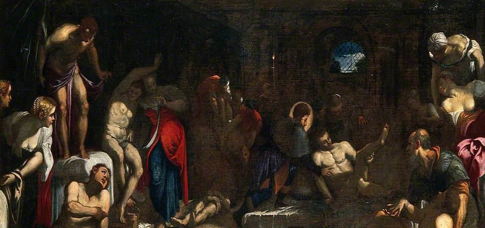 san rocco attending the Plague victims in a lazzaretto