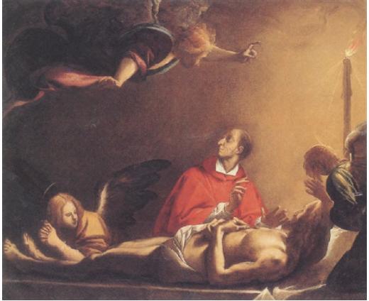 Morazzone Carlo Borromeo praying by the body of Christ